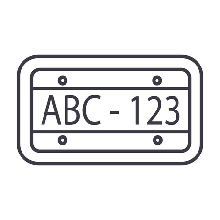 car number vector line icon, sign, illustration on white background, editable strokes