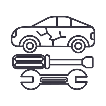 car service vector line icon, sign, illustration on white background, editable strokes