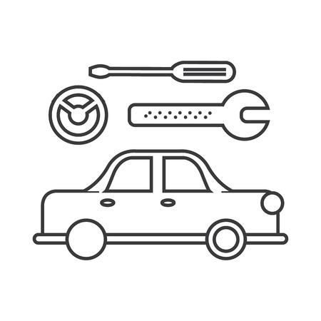 car wash: car service sign vector line icon, sign, illustration on white background, editable strokes Illustration