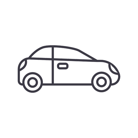 car, sedan, vehicle vector line icon, sign, illustration on white background, editable strokes Illustration