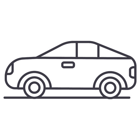 car, vehicle, automobile vector line icon, sign, illustration on white background, editable strokes