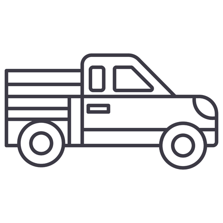 car pickup vector line icon, sign, illustration on white background, editable strokes