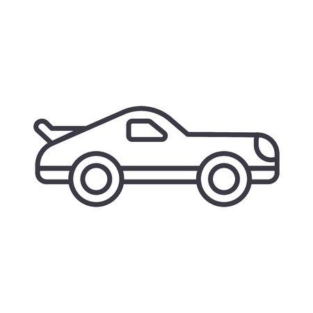 tire tracks: car racing vector line icon, sign, illustration on white background, editable strokes Illustration