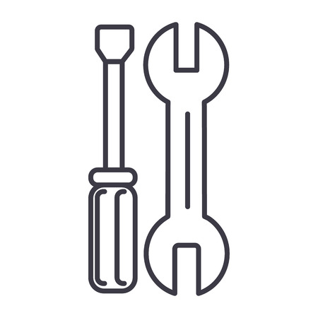 car repairs vector line icon, sign, illustration on white background, editable strokes