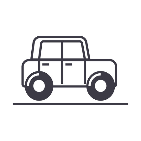 car,auto,vehicle vector line icon, sign, illustration on white background, editable strokes
