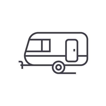 caravan vector line icon, sign, illustration on white background, editable strokes Illustration