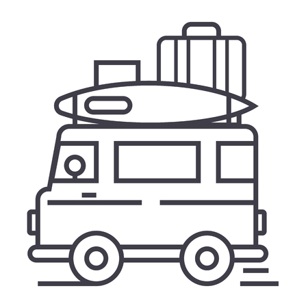 caravan,travel camping trailer vector line icon, sign, illustration on white background, editable strokes