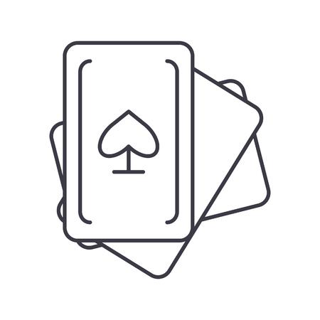カード ゲームのベクター線のアイコン、記号、白い背景に、編集可能なストロークの図