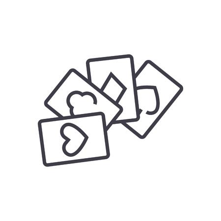 Kartenspiel, Poker Vektor Liniensymbol, Zeichen, Illustration auf weißem Hintergrund, editierbare Striche Standard-Bild - 87221682