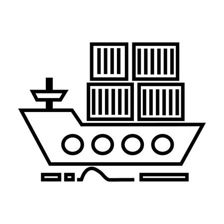 船便貨物配送出荷白い背景、編集可能なストロークのベクター線のアイコン、記号、イラスト
