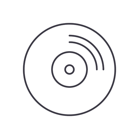 cd disc vector line icon, sign, illustration on white background, editable strokes Illustration