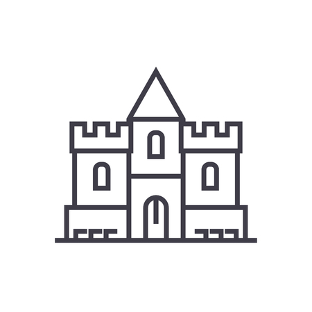 castle vector line icon, sign, illustration on white background, editable strokes Иллюстрация