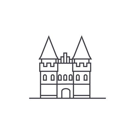城ヨーロッパ ベクトル線アイコン、記号、白い背景に、編集可能なストロークの図