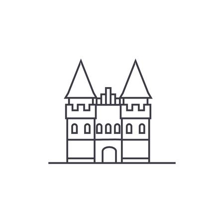 castle in europe vector line icon, sign, illustration on white background, editable strokes 向量圖像