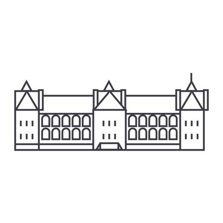 Castello in Francia linea icona di vettore, segno, illustrazione su sfondo bianco, colpi modificabili Archivio Fotografico - 87221698