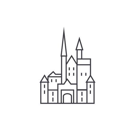 ベクター線のアイコン、記号、白い背景に、編集可能なストロークの図の城