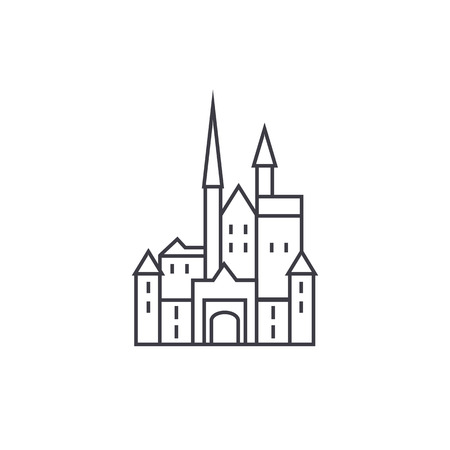 castle in vector line icon, sign, illustration on white background, editable strokes