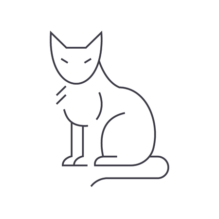cat vector line icon, sign, illustration on white background, editable strokes