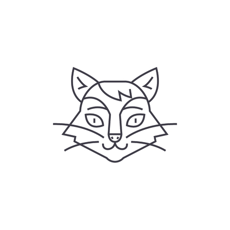silueta de gato: cat head vector line icon, sign, illustration on white background, editable strokes Vectores