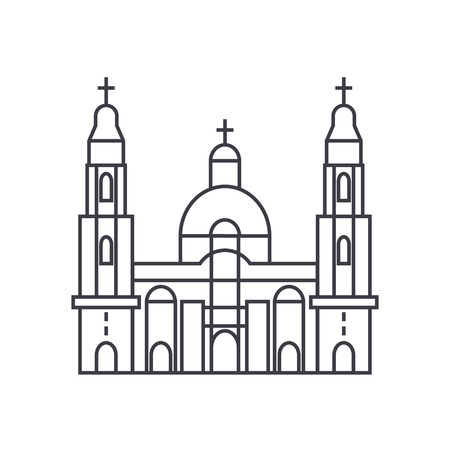 大聖堂教会ベクトル線アイコン、記号、白い背景、編集可能なストロークのイラスト  イラスト・ベクター素材