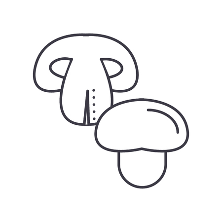 champignon vector line icon, sign, illustration on white background, editable strokes Çizim