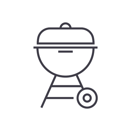 charcoal grill  vector line icon, sign, illustration on white background, editable strokes Illustration