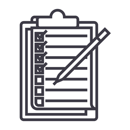 checklist,to do list vector line icon, sign, illustration on white background, editable strokes
