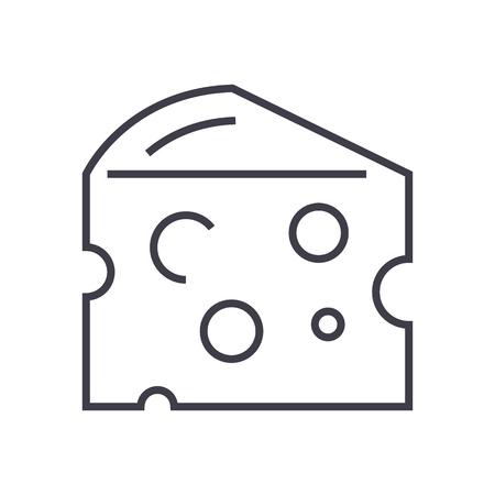 チーズ ベクトル線アイコン、記号、白い背景に、編集可能なストロークの図