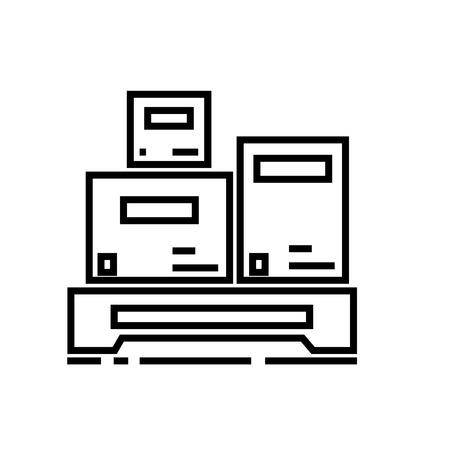 貨物計測ベクトル線アイコン、記号、白い背景に、編集可能なストロークの図
