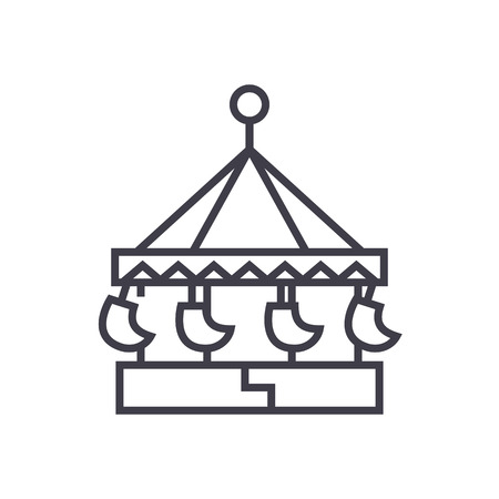 carousel,swing attraction,merry go round vector line icon, sign, illustration on white background, editable strokes