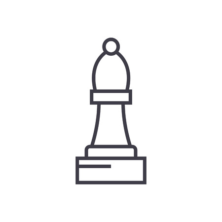 chess bishop vector line icon, sign, illustration on white background, editable strokes