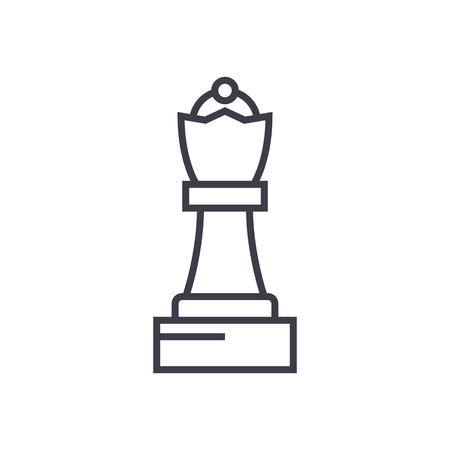 チェス女王ベクトル線アイコン、記号、白い背景に、編集可能なストロークの図