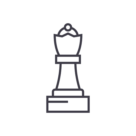 chess queen vector line icon, sign, illustration on white background, editable strokes