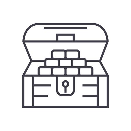 chest of money,treasure vector line icon, sign, illustration on white background, editable strokes