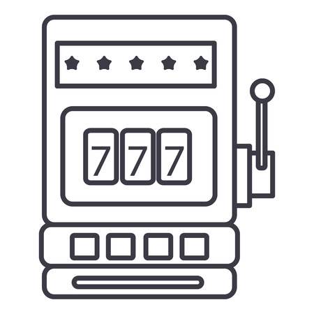 casino slot machine vector line icon, sign, illustration on white background, editable strokes Фото со стока - 87221737