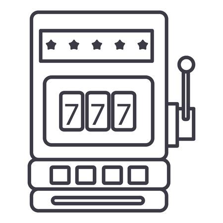 Casino slotmachine vector lijn pictogram, teken, illustratie op witte achtergrond, bewerkbare lijnen Stockfoto - 87221737