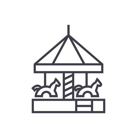 children s merry go round vector line icon, sign, illustration on white background, editable strokes