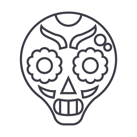 catrina vector line icon, sign, illustration on white background, editable strokes