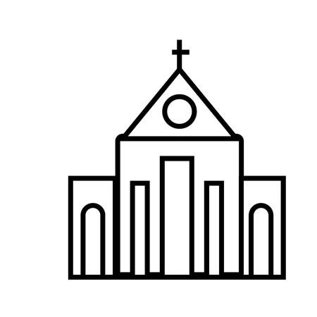 church vector line icon, sign, illustration on white background, editable strokes