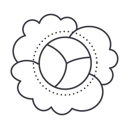 bloemkool vector lijn icoon, teken, illustratie op witte achtergrond, bewerkbare streken