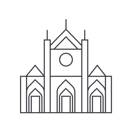 church sign vector line icon, sign, illustration on white background, editable strokes