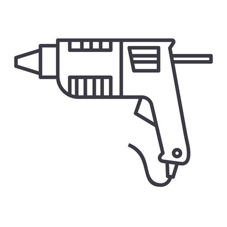 caulk gun,glue gun vector line icon, sign, illustration on white background, editable strokes Illustration