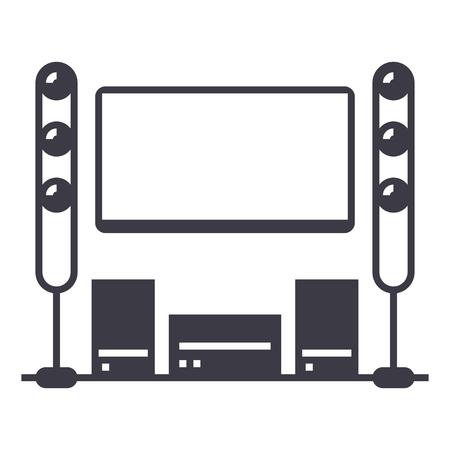 映画室、ホームシアター ベクトル線アイコン、記号、白い背景に、編集可能なストロークの図  イラスト・ベクター素材