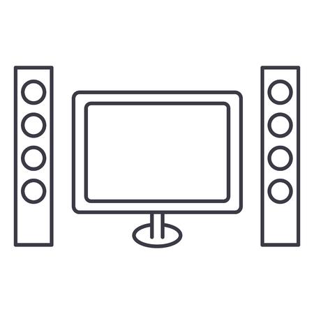 bioscoop, home theater vector lijn pictogram, teken, illustratie op witte achtergrond, bewerkbare lijnen Stock Illustratie
