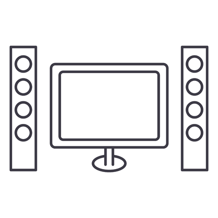 cinema, home theater vector line icon, sign, illustration on white background, editable strokes Иллюстрация