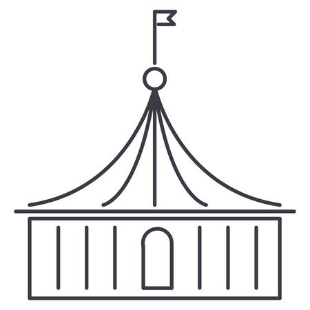 circus vector lijn pictogram, teken, illustratie op witte achtergrond, bewerkbare lijnen