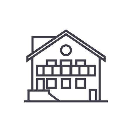 Icône de ligne vecteur chalet, signe, illustration sur fond blanc, coups modifiables Banque d'images - 87221760