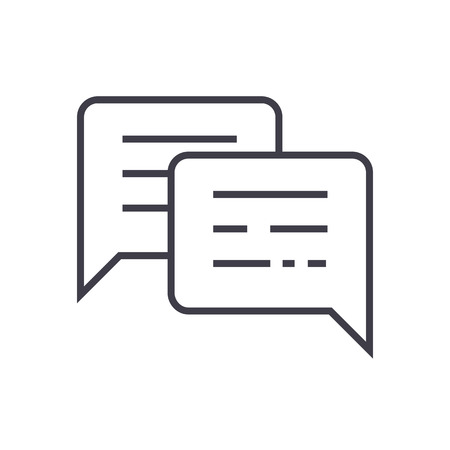 chatting,messages vector line icon, sign, illustration on white background, editable strokes Иллюстрация