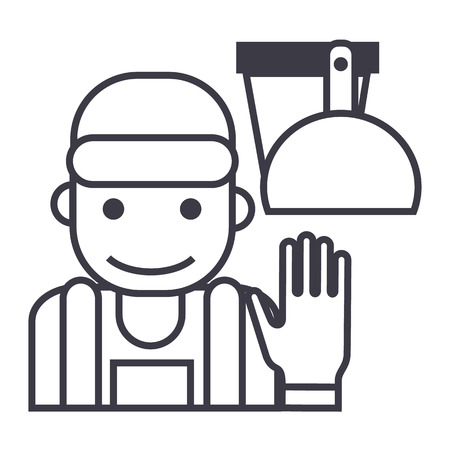 cleaning service illustration vector line icon, sign, illustration on white background, editable strokes