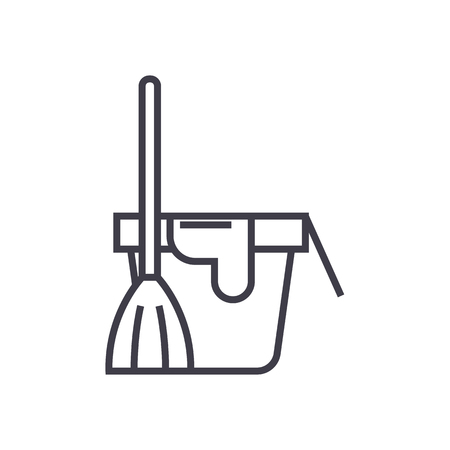 cleaning service,bucket with a broom vector line icon, sign, illustration on white background, editable strokes Illustration